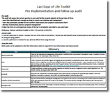 Last Days of Life Toolkit Pre Implementation and follow up audit
